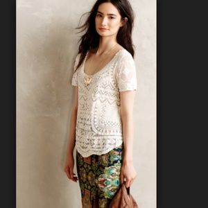 Meadow Rue White Lace Embroidered Top Mesh Blouse